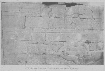 Glasplattendia Sethos I. in der Schlacht bei der Stadt Kanaans