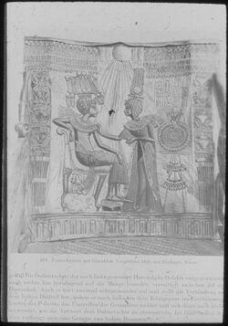 Glasplattendia Kairo, Nat. Mus., Tutanchamun m. Gemahlin