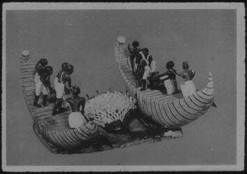 Glasplattendia Kairo, Nat. Mus. Fischer mit dem Schleppnetz