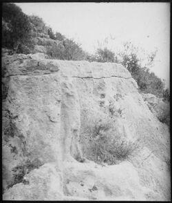 Glasplattendia Mann auf Löwe, wadi hamul