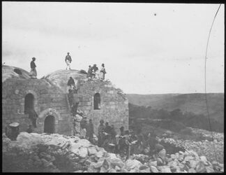 Glasplattendia Steinahus im Gewölbe [Palästina]