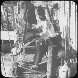 Glasplattendia Weaving [Weben, Palästina]
