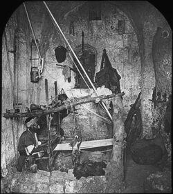 Glasplattendia Eingeborener Weber bei der Arbeit in Ramallah