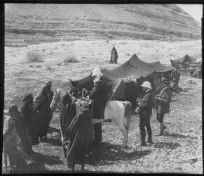 Glasplattendia Beduinenlager im w. [wadi] el-rar, Dalm. [Gustaf Dalman], Schm. [Hans Schmidt], Schlatter [Theodor Schlatter]