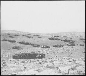 Glasplattendia Beduinenlager in d. jud. Wüste [Wüste Juda]