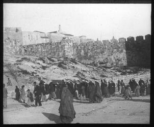 Glasplattendia Moslimisches Begräbnis bei Jerus. beim Damaskustor [Jerusalem]