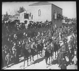 Glasplattendia Einzug der Türk.Truppen Beim Damaskustor. Kavallerie [Jerusalem]