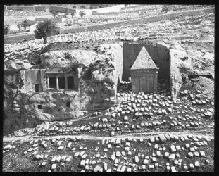 Glasplattendia Jakobus- und Zachariasgrab [Kidrontal, Jerusalem]