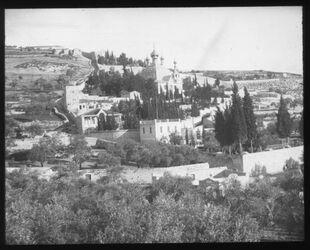 Glasplattendia Gegend von Gethsemane n. NW [Jerusalem]