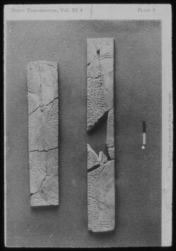Glasplattendia Tell der-alla, Knochenornament aus Tempel