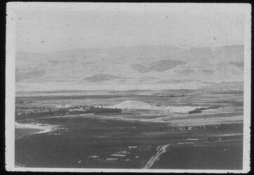 Glasplattendia B XIX 18 255 Tell der-alla, Blick von Osten über das Jordantal
