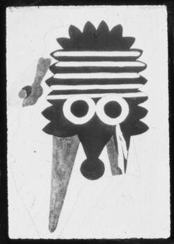 Glasplattendia Teleilat ghassul, Wandmalerei eines Dämonenkopfs