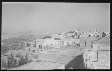 Glasplattendia Blick über Bethlehem vom Dach des evang. Pfarrerhauses