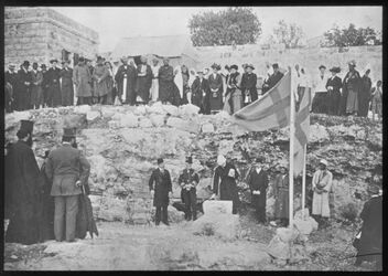 Glasplattendia C IV 5 Grundsteinlegung d. Schw. Hosp. Bethelehem 6.1.1913 Türk. Gouverneur, Ribbing