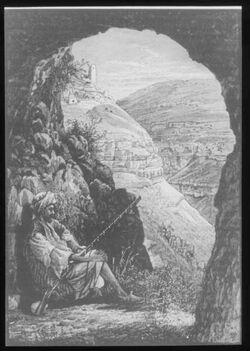 "Glasplattendia Tal und Ruinen v. Charetun, v. d. sog. ""Höhle Adullam"""