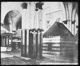 Glasplattendia Grab Isaaks und Rebekkas in Hebr. [Hebron]