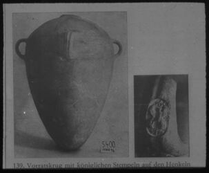 Glasplattendia Vorratskrug mit Königl. Stempel (Hebron)
