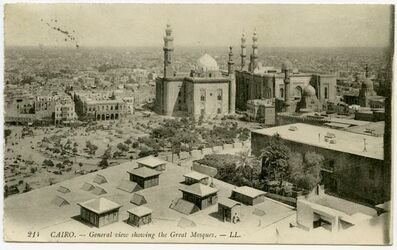 Postkarte Cairo. - General View showing the Grat Mosques.