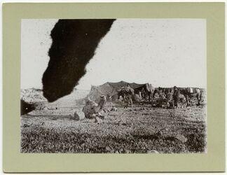 Fotografie Beduinenlager bei Zerakijje, Packen meiner Maulesel [Hauran]
