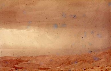GDId00883; Dia; S. W. Machaerus [Blick nach] Totes Meer, gelb-schwarzer Plastik-Diarahmen, Bestand von hölzernen Diakisten mit insgesamt rund 1.000 Kleinbilddias einer Palästina-Exkursion vermutlich der Universität Greifswald wohl in den 1960er Jahren