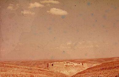 GDId00939; Dia; Shobak von S. W., gelb-schwarzer Plastik-Diarahmen, Bestand von hölzernen Diakisten mit insgesamt rund 1.000 Kleinbilddias einer Palästina-Exkursion
