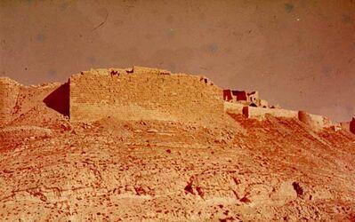 GDId00940; Dia; Shobak von S. W., gelb-schwarzer Plastik-Diarahmen, Bestand von hölzernen Diakisten mit insgesamt rund 1.000 Kleinbilddias einer Palästina-Exkursion