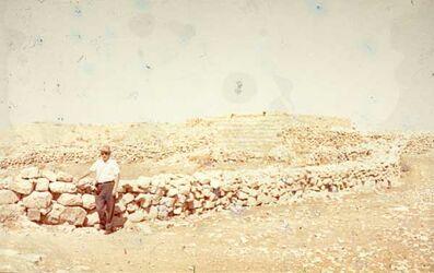 GDId01283; Dia; Dhiban [Diban] (Wächter), gelb-schwarzer Plastik-Diarahmen, Bestand von hölzernen Diakisten mit insgesamt rund 1.000 Kleinbilddias einer Palästina-Exkursion