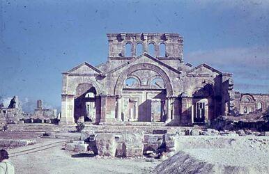 GDId01356; Dia; Simeonskloster 5. Jhd. [Blick nach] N, gelb-schwarzer Plastik-Diarahmen, Bestand von hölzernen Diakisten mit insgesamt rund 1.000 Kleinbilddias einer Palästina-Exkursion