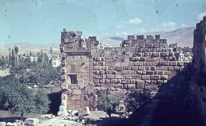 Dia Baalbek Bl. v. n. Tempel-Terrasse [nach] NNO