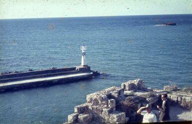 Dia Sidon Schl a. Meer [Blick zur] Hafeneinfahrt