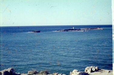Dia Sidon Schloß a. Meer [Blick zu] Insel Leuchtt.