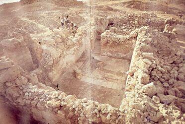 Dia [Masada, es-sebbe] Von N. [Blick zu] Raum mit gr. Mosaik