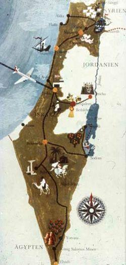 Dia [aus dem Buch: Sven Gillsäter u. a., Helgas Reise ins Heilige Land, 1965] Karte Israel
