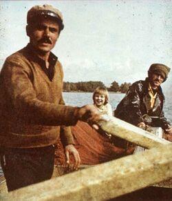 Dia [aus dem Buch: Sven Gillsäter u. a., Helgas Reise ins Heilige Land, 1965] Fischer Isaak + Elia [See Genezareth]