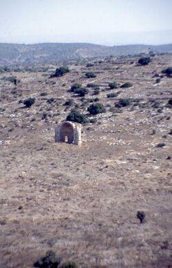 Dia Blick vom Tell el Marischa auf die Ruine der Kreuzfahrerkirche St. Anna [Jerusalem?, Israel-Exkursion]