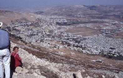 Dia Blick vom Garizim auf Sichem [Israel-Exkursion]