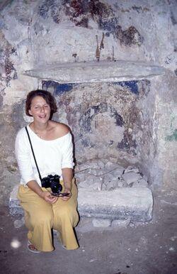 Dia Babette in der Johanneskapelle in Samaria [Sebastie, Israel-Exkursion]
