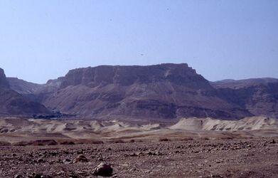 Dia Massada vom Toten Meer aus gesehen [es-sebbe, Israel-Exkursion]