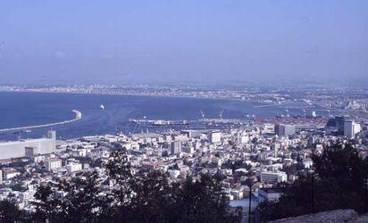 Dia Blick auf Haifa/Hafen [Israel-Exkursion]