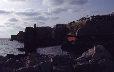 Dia Hafen mit Hafenmauer [Akko, Israel-Exkursion]