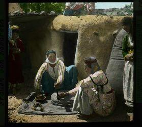 Glasplattendia Frauen von Nazareth [Handmühle]