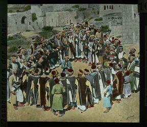 Glasplattendia Fellachen - Hochzeit. Klatschreigen der Männer