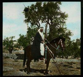 Glasplattendia Beduine zu Pferde