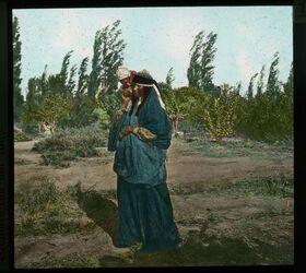 Glasplattendia Beduinenfrau mit Kind.