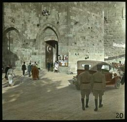 Glasplattendia Das Jaffator. Jerusalem