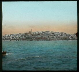 Glasplattendia Jaffa vom Meere aus. [Tel Aviv]