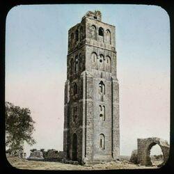 Glasplattendia Ramleh [Ramla], Kreuzfahrerturm. Palästina