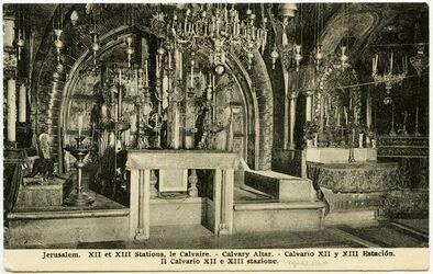 Postkarte Jerusalem. XII et XIII Stations, le Calvaire. [..., Grabeskirche]