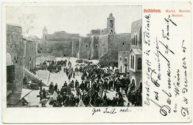 GDIp04225; Postkarte; Bethlehem. Markt. Marché. Market., in Bestand von rund 5.000 nach Themen und Orten sortierten Kleinbildabzügen