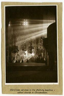 Postkarte Christmas servides in the Nativity basilica - oldest church in Christendom. [Bethlehem]
